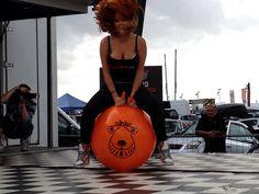 Lucy Vixen Collett (Glamour Model) on our 66cm Retro Orange Space Hopper