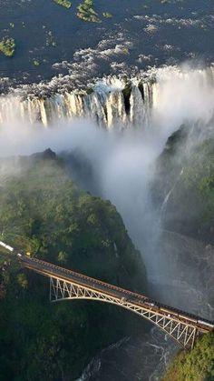 Look at this view of zimbabwa Waterfall.