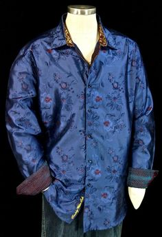 """Behold this rare limited edition sports shirt from Robert Graham. The """"Cayo Coco"""" features a gorgeous iridescent navy silk with a realistic floral pattern throughout. Red embroidery accent the floral patterns and give a nice splash of color. Cayo Coco, Robert Graham, Long Shorts, Sports Shirts, Blue Fashion, Cool Outfits, Menswear, Floral Patterns, Silk"""