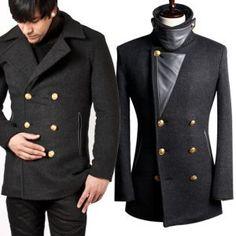 Outerwear :: Stylish High-neck Cashmere Double Coat - coat 16 - New and Stylish - Fast Mens Fashion - Mens Clothing - Product