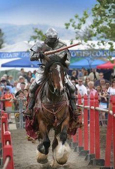 Steekspel ridder in een moderne re-enactment. Credit David Ball