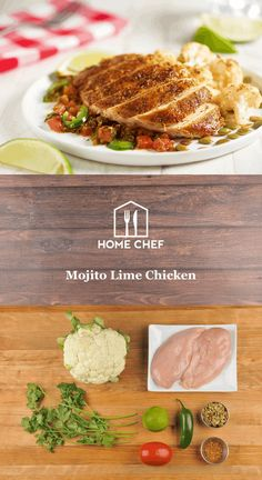 Bold and bright flavors are the name of the game with this mojito lime chicken. A sweetened seasoning suffused with citrus and herbs like mint flavors a tender chicken breast while roasted cauliflower and a blistered tomato-jalapeño relish round out a low-cal, low-carb meal whose flavors just can't be beat.