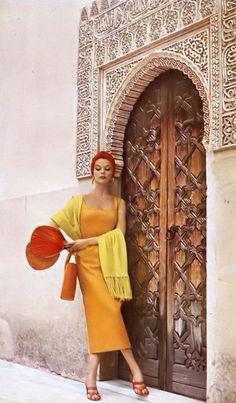 Jean Patchett, photo by Louise Dahl-Wolfe, Spain, Harper's Bazaar, 1953
