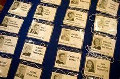 Name tags bearing yearbook photos await Washington-Lee High School's ...