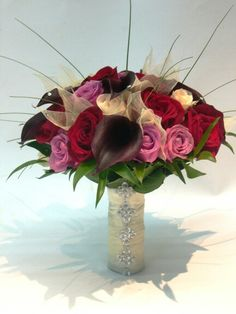 Red Roses, White Roses, Pink-Violet Roses, Aubergine Calla Lilies, Green Foliage Wedding Bouquet