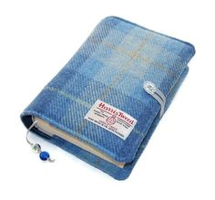 Book Cover in HARRIS TWEED Blue Skies Handmade by WhimsyWooDesigns I want this for myself! Gift for me :-)