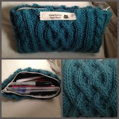 Cabled Pencil Case #knitting #DIY. I don't knit, but maybe you could cut up an old sweater?