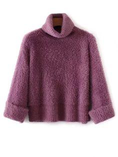 Fuzzy cuello alto suéter - Púrpura Única Talla