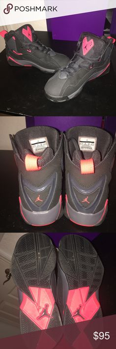 Jordan's True Flight Black & Infrared size 6.5 Boys (can fit 8 in Women). Gently worn, just like brand new. NO BOX. Bought them for $130. They were always too big for me so I hardly wore them. Jordan Shoes Sneakers