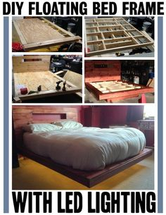 DIY floating bed frame with lights. I would make it without the headboard.
