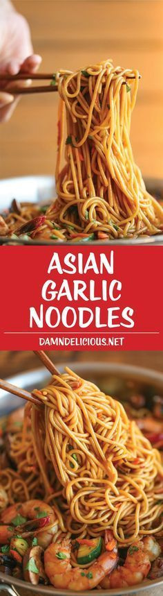 Asian Garlic Noodles – Easy peasy Asian noodle stir-fry using pantry ingredients that you already have on hand. Quick, no-fuss, and made in less than More from my site Easy Peasy Asian Garlic Noodles Asian Recipes, Great Recipes, Favorite Recipes, Chinese Food Recipes, Holiday Recipes, I Love Food, Good Food, Yummy Food, Tasty