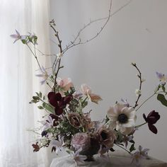 gorgeous centerpiece with soft rose and lilac colors and also some deep red accents and willow catkins for a garden inspired bouquet Deco Floral, Arte Floral, Floral Design, Ikebana, Vase Arrangements, Floral Centerpieces, Centrepieces, Beautiful Flower Arrangements, Beautiful Flowers