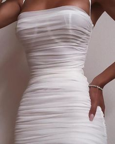 Spaghetti Strap Mesh Ruched Bodycon Dress - Women's style: Patterns of sustainability Inexpensive Wedding Dresses, Elegant Dresses, Cute Dresses, Casual Dresses, Short Dresses, Party Dresses, Glamorous Dresses, Dress Party, Formal Dresses