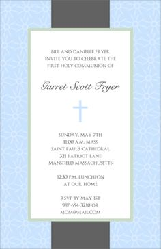 Elegant Blue Cross Invitations