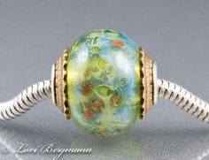 Fairy Dust Lampwork and Sterling Cored European Charm Bead, fits Pandora, Troll