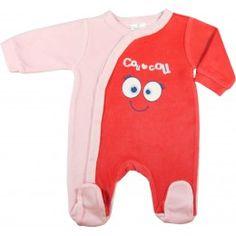 """Pyjama bébé velours rose """"Coucou"""""""