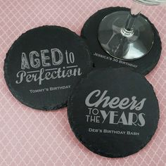 Personalized Adult Birthday Round Slate Coasters-Cheers to the years! Add a sophisticated touch to your upcoming birthday celebration with our persona Birthday Party Favors, Birthday Bash, Birthday Celebration, Birthday Gifts, Slate Coasters, Slate Stone, Party Gifts, Coaster Set, Cleaning Wipes