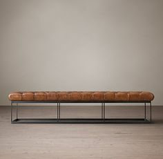 "Restoration Hardware 78"" Tufted Leather & Metal Bench, Italian Tobacco, Tobacco $1,050 (78""W x 20""D x 16 ½""H) for Master Bedroom"