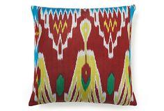 Ikat 20x20 Silk Pillow, Red/Multi