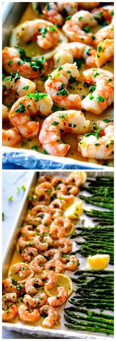 Roasted Lemon Butter Garlic Shrimp And Asparagus | Tasty Food Collection