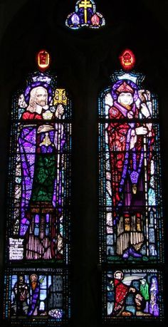 Carrickmacross, Co Monaghan, St Patrick (RC) Harry Clarke studios, 2 light window St Lawrence O Toole and St Oliver Plunkett Harry Clarke, St Lawrence, Irish Art, Arts And Crafts Movement, Stained Glass Windows, St Patrick, Ireland, Studios, Darth Vader
