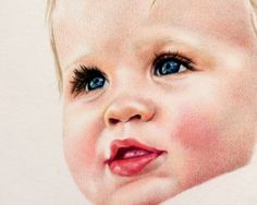 Crystal Cook - Baby Art Print colored pencil portrait Giclee Reproduction sweet infant with soft rosy cheeks pink. , via Etsy.