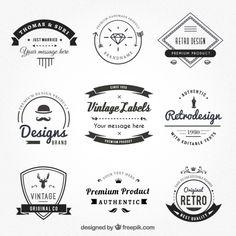 Etiquetas vintage en estilo hispter Vector Premium