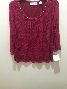 SagHarbor Stretch Lace Falling Forward Long Sleeve Top Wild BerryColor Large Siz #SagHarbor #RoundNeck