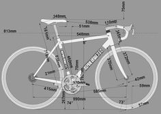 Frame geometry for a road bike. For any cyclist interested in the #bike more than the #cycling.