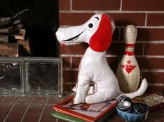 Vintage Collectible Vinyl Dog Toy with Red Ears