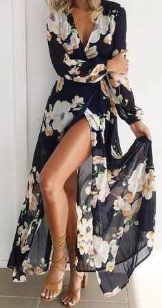 .Ana Rosa. t - TOTAL GORGEOUSNESS!! - SUCH A GLORIOUS LOOKING DRESS WITH THE BEAUTIFUL FLORAL PATTERN & BLACK BACKGROUND!! - THE STYLE IS SIMPLY STUNNING WITH THE SIDE SPLIT!! - LOOKS JUST FABULOUS!!