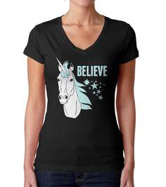 Women's Believe In Unicorns Vneck T-Shirt - Juniors Fit