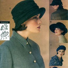 Vogue HAT PATTERN Beret Cap Newsboy Cloche Hats Vogue 8771 LOLA Designer Women's Accessories Craft Sewing Patterns UnCUT One Size Fits Most