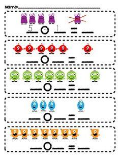 Monster Math subtraction problems FREEBIE!! - Elementary Creations - TeachersPayTeachers.com