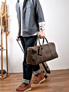 2ec5d278ed60 Vintage Leather Mens Large Weekender Bags Cool Travel Bag Duffle Bag f Leather  Duffle Bag
