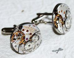 Steampunk - LONGINES Men Steampunk Cufflinks GENUINE Luxury Swiss Silver High Grade Vintage Watch Movement Men Steampunk Cufflinks / Cuff Links Gift by TimeInFantasy