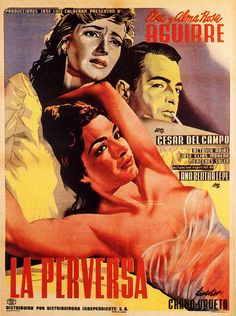 "MP1190. ""La Perversa"" Mexican Movie Poster by Josep Renau (Chano Urueta 1954) / #Movieposter"
