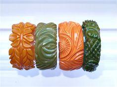 Bakelite vintage deep carved bracelets