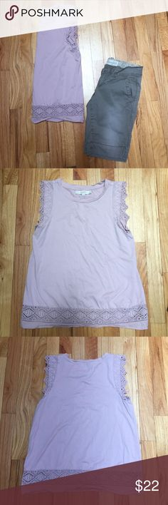 Loft eyelet top Only worn once! Loft sleeveless eyelet and crochet trim top. 100% cotton. The color is like a light mauve. Gorgeous embroidery detailing. Slightly loose fit. Pictured with Aeropostale Bermuda shorts. For sale separately. LOFT Tops
