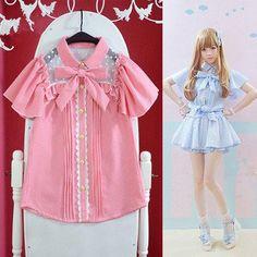 Pink/Blue Lolita Plaid Chiffon Shirt SP154002 - SpreePicky  - 1