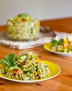 Vegetable and Edamame Pasta with Basil Cream Sauce