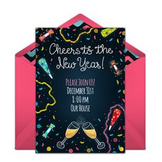 """Celebrate New Year's with a fun invitation design that you can send online for free. This free design called """"New Year's Confetti"""" is a favorite on Punchbowl. Personalize and send right from your phone!"""