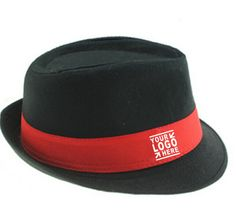 70006d2485a Custom black fedora hat with red ribbon for promotion Fedora Hats