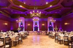 Purple lighting shows off the high ceiling off the Villa Siena ballroom   villasiena.cc