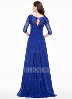 A-Line/Princess V-neck Sweep Train Dress With Lace Beading Sequins Cascading Ruffles (008065593) - JJsHouse