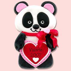 Personalized Panda Bear Valentine Ornament Handmade Polymer Clay by Deb & Co.. $11.95, via Etsy.