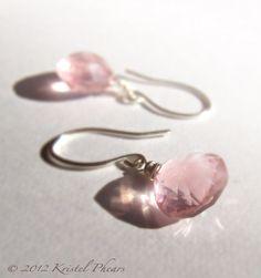 SALE  Rose Quartz Earrings  Dangle Earrings Drop by KrisPstudio, $105.00