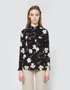 Rosemont Crepe Shirt in Black Wild Rose