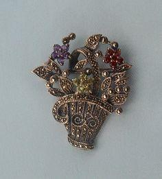 Vintage Flower Basket Pin or Pendant  by TollethHouseVintage