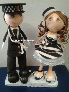 Muñequitas de goma eva Creacionesreme: Muñecos de boda Ana y Cristian